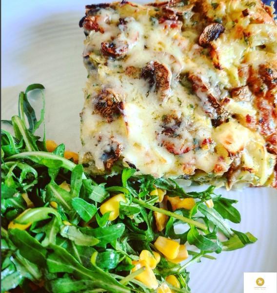 Tarte champignons et lardons (Recette sans pâte, façon clafoutis salé)
